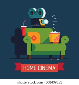 Cool vector 'Home Cinema' flat design illustration | Trendy concept design on home movie watching entertainment with green sofa couch and film projector. Ideal for web, graphic and motion design