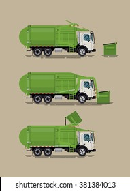 Cool vector illustration of front loader garbage truck operating with dumpster container. Sanitary urban heavy vehicle for residential and commercial solid waste collection