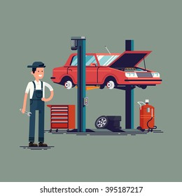 Cool vector illustration on broken car in auto repair shop being fixed on car lift with friendly smiling mechanic professional holding wrench. Auto service. Car technical maintenance