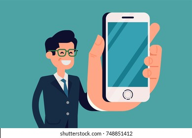 Cool vector illustration on businessman showing smartphone display closeup. Flat character design in wide-angle style with man, holding mobile device with empty display