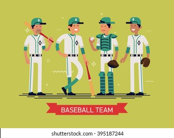 Cool vector illustration on group line-up of fully equipped baseball or softball players characters in white and green clothes, full length. Sport professional career concept layout on baseball team
