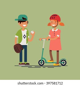 Cool vector illustration on kids ready for action. Little boy and girl having free time playing baseball, riding scooter. Children play. Boy with ball and fielder glove and girl with kick scooter