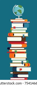 Cool vector illustration of tall book stack with globe on top. Vertical design element on reading, learning, knowledge and education