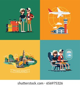 Cool vector illustrations on travelers couple going to Thailand featuring airport, luggage, landmarks and highlights, airplane cabin seats
