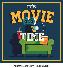 Cool vector 'It's Movie Time' web banner or poster template | Trendy concept design on home movie watching entertainment. Ideal for web, graphic and motion design
