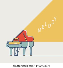 Cool vector live music themed poster, banner or flyer template with grand piano in trendy flat style. Ideal for concert posters, piano classes flyers and other music related design