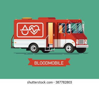 Cool vector mobile blood donation center vehicle. Healthcare transport illustration bloodmobile van. Medical special red truck vehicle for blood donation with open door ready to recruit donors