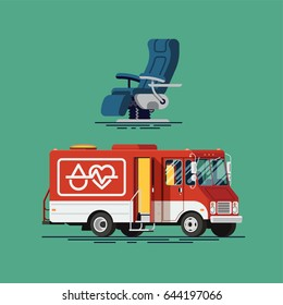 Cool vector mobile blood donation center vehicle and donor chair. Healthcare illustrations on bloodmobile and donor chair. Medical special red truck for blood donation ready to admit donors