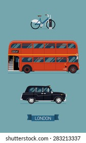Cool vector modern flat design illustration on London public city transport taxi service vehicles hackney carriage black taxi automobile,  retro double decker red bus and public bike hire sharing
