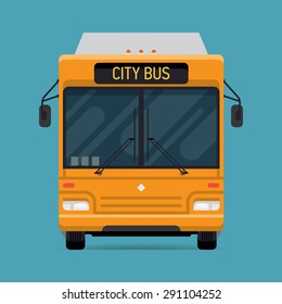 Cool vector modern flat design public transport vehicle city transit shorter distance bus, front view, isolated