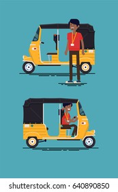 Cool vector modern flat design transport vehicle icons on exotic destination oriental countries baby taxi. Auto rickshaw vehicle with driver. Tuk Tuk three wheeler tricycle and driver character
