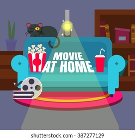Cool vector 'Movie at home' flat design illustration. Trendy concept design on home movie watching entertainment with blue sofa couch and film projector. Ideal for web, graphic and motion design