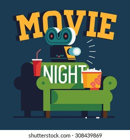 Cool vector 'Movie Night' flat design illustration | Trendy concept design on home movie watching entertainment with green sofa couch and film projector. Ideal for web, graphic and motion design