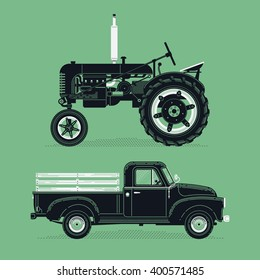 Cool vector old farm retro graphic vehicles. Old pickup truck and farm tractor cars in detailed vintage style. Ideal for farm fresh food market themed graphic and web design
