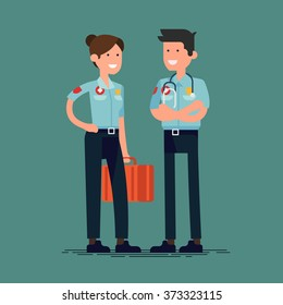 Cool vector paramedic characters in flat design standing isolated. Friendly healthcare adult male and female professionals in uniforms