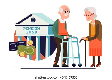 Cool vector pension fund concept illustration with elderly couple standing. Senior age man and woman standing with financial institution icon on background | Retirement financial concept illustration