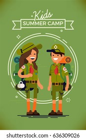 Cool vector poster or banner template on kids summer camp with couple of caucasian kids wearing hiking backpacks and scout uniform. Fully equipped scout camp boy and girl. Young cute little campers
