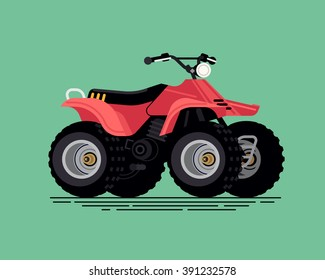 Cool vector quad bike. All terrain vehicle. Four wheeler. Quadricycle transportation flat design element isolated