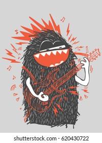 Cool vector rock star monster sketch character.