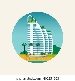 Cool vector round circle vacation or travel themed icon on beach resort hotel in flat design. Modern hotel building. Luxury beachfront hotel complex with palms, pool and red parasols