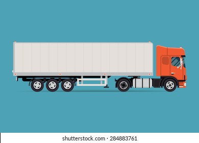 Cool vector semi-trailer european flat nose truck towing engine transport web icon or design element, side view, isolated | Road freight transportation illustration