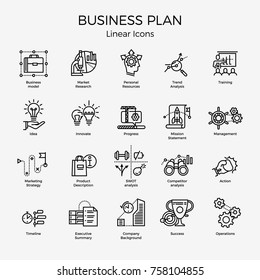 Cool vector set of 20 Business Plan themed icons and symbols featuring Market research, trend analysis, strategy, mission statement, action, SWOT research, operations, etc. Editable stroke