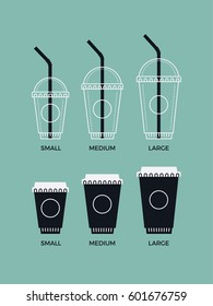 Cool vector set of different take away hot and cold beverage sizes. Small, medium and large coffee paper cup sizes flat style icons. Ideal for bar and cafe menu design