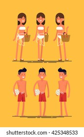 Cool vector set of female and male summer beach resort characters. Sexy woman in white swim suit posing. Beach girl in different views. Beach boy in different views. Beach vacation couple posing