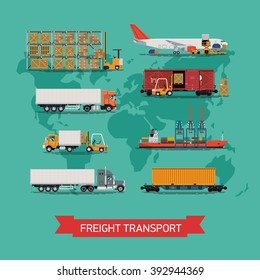 Cool vector set on worldwide shipping, heavy transport, delivery ways and logistics in business and industry with warehouse, trucks, airplane, railway and seaway cargo ship with abstract world map