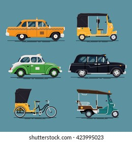 Cool vector set of world taxi cars and vehicles with yellow cab, hackney carriage, tuk-tuk, velotaxi, baby taxi auto rickshaw and more