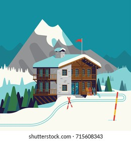 Cool vector ski resort mountain detailed landscape with lodge, spruce trees and ski tracks. Winter sports vacation destination concept background