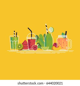 Cool vector smoothies and fresh pressed fruit juice line-up illustration in flat design
