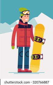 Cool vector snowboarder character standing full length on snowy mountain background | Flat design winter sport activity adult male person holding snowboard wearing ski clothing and equipment