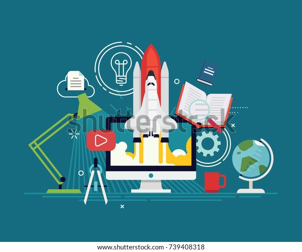 Cool vector startup research concept illustration. Flat vector visual on fast online education and intensive e-learning courses. High productivity in education process