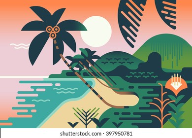 Cool vector summer vacation exotic travel destination background. Paradise palm tree island sand shore illustration in flat design. Geometric stylized tropical landscape. Abstract jungle and sea shore