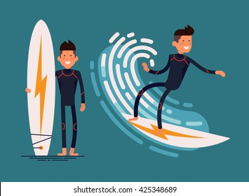 Cool vector surfer character in wetsuit with surfboard standing and riding on ocean wave. Recreational beach water sport flat design character on surfing. Man on surfing vacation. Surf travel