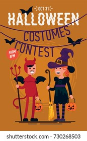 Cool vector template on Halloween Costumes Contest party poster, banner or flyer with happy laughing characters wearing red devil and witch costumes