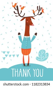 Cool vector thank you  flat style  card with a Deer. Great for your design ideas, cards, posters and kids room decoration.