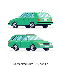 Cool vector transportation flat design item station wagon family car. Classic looking hatchback vehicle, rear and front view