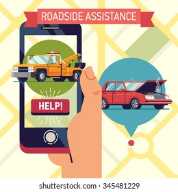 Cool vector trendy flat design visual on roadside assistance application with hand holding mobile phone with towing truck icon and help button with wrecked car location pin on city map on background