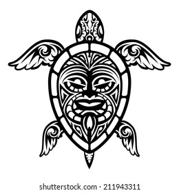 Cool Vector Turtle Polynesian Tattoo on White Background.