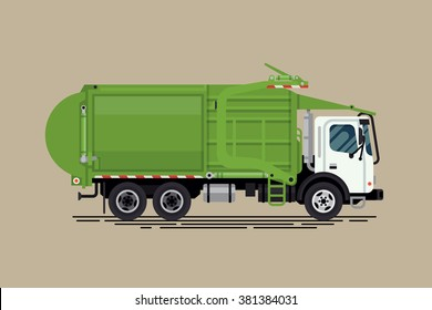 Cool vector urban sanitary vehicle garbage front loader truck. Residential and commercial solid waste collection and transportation