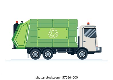 Cool vector urban sanitary vehicle garbage front loader truck. Residential and commercial solid waste collection and transportation. Green garbage truck