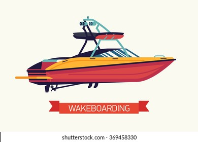 Cool vector wakeboarding towing boat. Surface watersport red motor boat in trendy flat design isolated. Concept design element on wakesurfing boat with tower, speakers and board holders