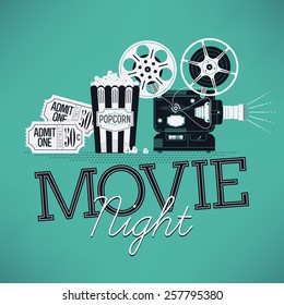 Cool vector web banner or printable design element on Movie Night event with detailed retro motion picture film projector, admit one cinema theater tickets and popcorn
