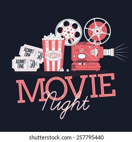 Cool vector web banner or printable design element on Movie Night event with detailed retro motion picture film projector, admit one cinema theater tickets and popcorn. Dark background
