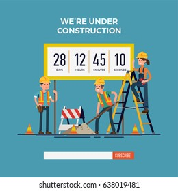 Cool vector website 'Under Construction' landing page template with worker characters doing their job, countdown area and 'Subscribe' bar