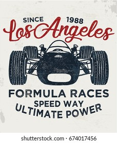 cool vintage race car illustration, vector, slogan