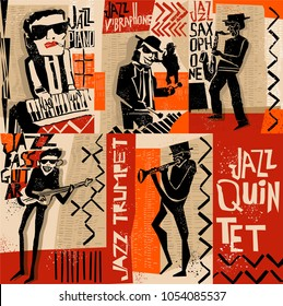 cool vintage vector of jazz band poster with trumpet player, guitarist, pianist, saxophonist and vibraphonist, nice composition and textured figures and background.for jazz concert or festival cover.