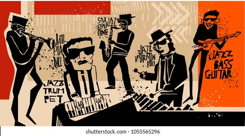 cool vintage vector of jazz band poster with trumpet player, guitarist, pianist, saxophonist and vibraphonist, nice composition and textured figures and background. for jazz concert or festival cover.